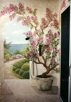 Image detail for -Outdoor Shower I love the painted walls would be lovely for indoor shower or bath too.