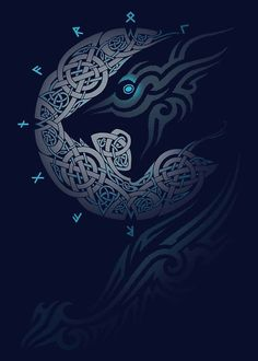 Vikings t shirt America Fenrir Tattoo, Norse Tattoo, Viking Tattoos, Celtic Wolf Tattoo, Celtic Patterns, Celtic Designs, Wolf Tattoos, Body Art Tattoos, Maori Tattoos