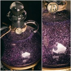 how to make glitter potions: use corn syrup and fine glitter.