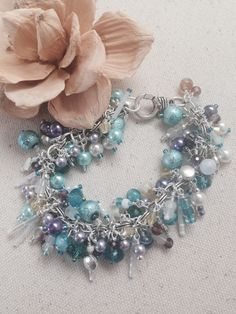 Turquoise and Yellow Beaded Dangle Bracelet