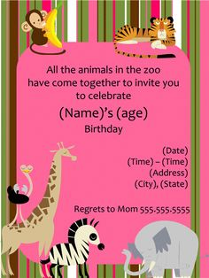 Zoo Animal Birthday Party Invitation - Girl - Templates - Office.com