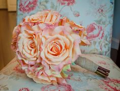 Peach Rose Wedding Bouquet by KateSaidYes on Etsy