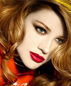 bright red lips