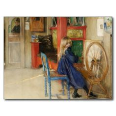 Kleines Mädchen am Spinnrad Postkarten