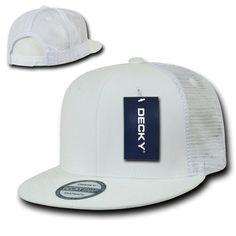 62b8b9e5c17 White Solid Blank Plain Mesh Flat Bill Snapback Trucker Baseball Ball Cap  Hat