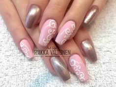 Rose Gold and Velvet effect, acrylic nails #nails #nailart #stockholm #handpaintednailart