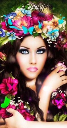 Latest animation I made using this beautiful image Fantasy Art Women, Beautiful Fantasy Art, Beautiful Gif, Beautiful Flowers, Beautiful Pictures, Lovely Girl Image, Girls Image, Image Nature, Girls With Flowers