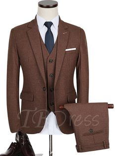 #Spring #AdoreWe #TBDress - #TBDress Notched Collar One Button Brown Solid Color Slim Fit Mens Dress Suit - AdoreWe.com