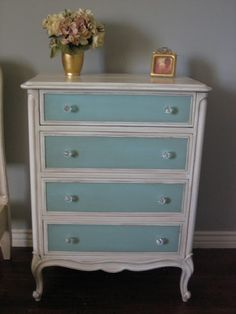 My repainted chest of drawers in CraigRose 1829 Malachite Tile