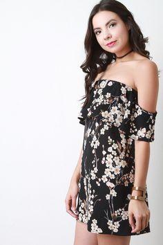 Cherry Blossom Off The Shoulder Mini Dress