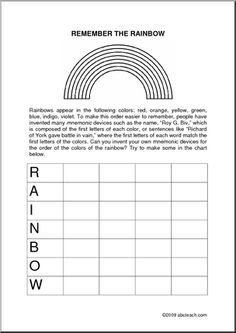 rainbow mnemonics worksheet quotes rainbow activities rainbow worksheets. Black Bedroom Furniture Sets. Home Design Ideas