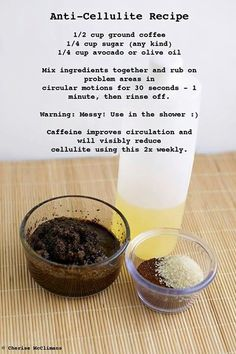 Those bumps - the natural remedy........ Cellulite scrub - I do this regularly but never added the sugar.  I will try this next time  :)