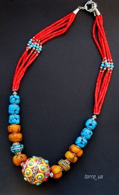 I would love a whole necklace of the small red beads with the small turquoise & silver beads