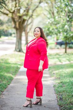 Look Of Red Plus Size Suit – Estrella Fashion Report Plus Size Suits, Plus Size Dresses, Plus Size Womens Clothing, Plus Size Fashion, Boho Outfits, Vintage Outfits, Vintage Clothing, Leopard Print Sandals, Red Suit