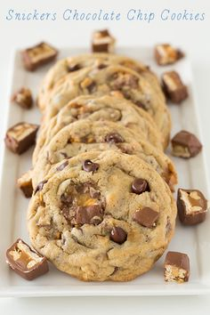 Snickers Chocolate Chip Cookies @Jaclyn {Cooking Classy}
