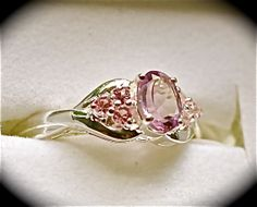 Rose DeFrance Amethyst/Lab created Pink Sapphire  Nickel Free Sterling Silver Size 9      $25.00