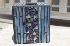 Mosaic tissue box cover with glass nuggets, mosaic tissue box, tissue box cover, mosaic, aqua, plum, white mosaic, blue and purple mosaic