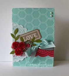 """♥ this card by Karren Johnson from Stamping Stuff.  Very shabby chic, and ♥ the use of the """"Honeycomb"""" Embossing Folder in contrast to the Doily."""