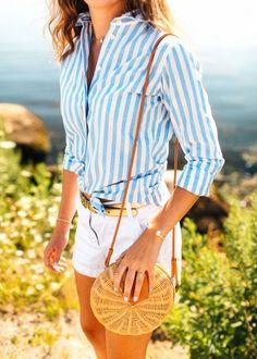 Shirt: KJP Shorts: J.Crew Pearl Cuff: KJP Gold Bracelet: KJP Ring: KJP Earrings: KJP Necklace: KJP Bag: J.McLaughlin Sunglasses: Warby Parker Belt: J.Crew (Similar) Shoes: Jack Rogers …