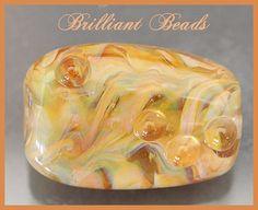 Golden Yellow & Topaz Swirled Lampwork Glass Bead by Gillianbeads, $5.50