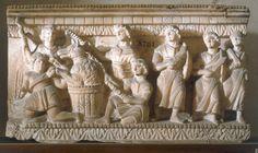 ULYSSE / RELIEF ÉTRUSQUE. Art étrusque.  Scène de l'Odyssée (Ulysse libère ses compagnons de l'enchantement de Circé).  Relief.