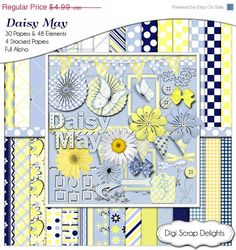 40% Off SALE Daisy May Digital Scrapbook Bundle in Navy Blue and Yellow Gingham and Daisy Clip Art, Instant Download