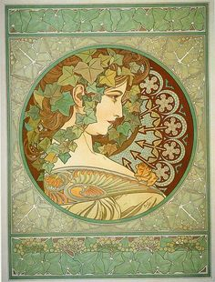 Alfons Maria Mucha(24 July 1860 – 14 July 1939), often known in English and French as Alphonse Mucha, was a Czech Art Nouveau painter and decorative artist - Laurel, 1901