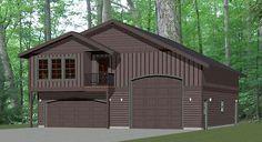40x42 Apartment with 2-Car 1-RV Garage - PDF FloorPlan - 1,153 sqft - Model 3A