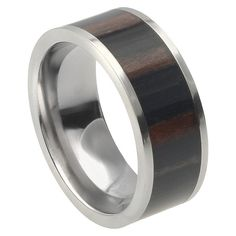 Men's Daxx Titanium African Band with African Blackwood Inlay - Brown/Silver (9) (9mm)