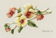 DIGITAL ITEM Miniature Attic Pansies by TRISHBURREMBROIDERY