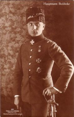 Hans-Joachim Buddecke (22 August 1890 – 10 March 1918) was a German Flying Ace in World War I.  Here you see him in Turkish uniform, with the Pour le Mérite at his neck.  Buddecke was credited with 13 victories. He was the third ace, after Max Immelmann and Oswald Boelcke, to earn the Blue Max (Pour le Mérite). He saw combat in three theaters during the First World War: Bulgaria, Turkey, and the Western Front.