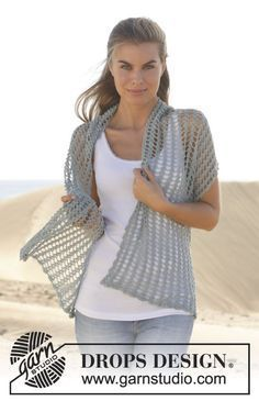 Free knitting patterns and crochet patterns by DROPS Design hat for women drops design Down By The Sea / DROPS - Free crochet patterns by DROPS Design Cardigan Au Crochet, Gilet Crochet, Crochet Jacket, Knit Cowl, Crochet Vests, Lace Scarf, Cowl Scarf, Crochet Shawls And Wraps, Crochet Scarves