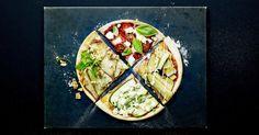 Pizza met rode biet, chilipeper, tomaten en geitenkaas