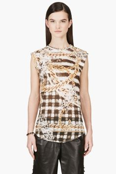 BALMAIN Gold Linen Check & Chain Print Tank Top
