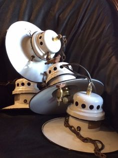 Vintage French Set of 4 Petit White Enamelled Lamps