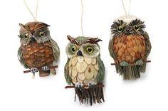Handwerken, Malen und Basteln Pine Cone Owl Ornaments to Make Natural Christmas Ornaments, Christmas Pine Cones, Christmas Owls, Christmas Crafts, Pinecone Owls, Pinecone Ornaments, Owl Ornament, Pine Cone Art, Pine Cone Crafts