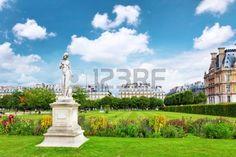 Sculpture And Statues In Garden Of Tuileries. (Jardin Des ...