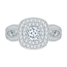 14K White Gold .50 ct. Diamond Promezza Engagement Ring with Cushion Center - Shah Luxury #diamonds #carizza #ring #engagement