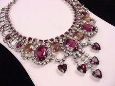 vintage amethyst and rhinestone bib necklace