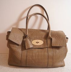 MULBERRY BAYSWATER Authentic Beige Khaki Leather Gold Fastened Tote Shoulder Bag   eBay