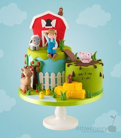 Farm cake farm / barn - cakes, cupcakes & cookies in 2019 то Farm Birthday Cakes, Farm Animal Birthday, 2nd Birthday, Mcdonalds Birthday Party, Farm Animal Cupcakes, Barn Cake, Cherry Cake, Novelty Cakes, Cakes For Boys
