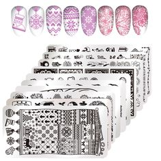 1 Sheet Rectangle Nail Stamping Plate Lace Flower Christmas Design Nail Template Manicure Nial Art Stencil Stamping Tools
