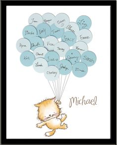 Having a kitten or kitty cat themed baby shower? Guests sign their names and a short note on the included balloons and attach them to the print. Put in your little ones room as artwork and a wonderful keepsake. Cat Birthday, Birthday Party Themes, Baby Shower Parties, Baby Shower Themes, Hipster Cat, Shower Bebe, Baby Kittens, Baby Shower Gender Reveal, Baby Love