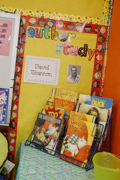 Author Study-I love the idea of always keeping this up in the classroom. These are great to set up after a read aloud so students can see more of the author's writings. Kindergarten Literacy, Literacy Activities, Preschool, Reading Activities, Literacy Centers, Classroom Displays, Classroom Organization, Library Displays, Classroom Management