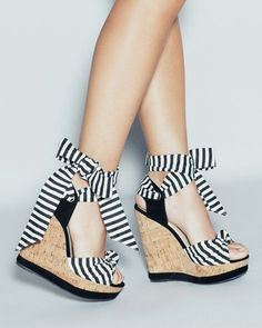 Striped Wedge Shoes.