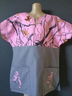 Pink and grey camo buckmark medical - dental- vet - scrub top on Etsy, $30.00