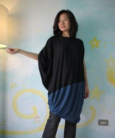2 Tone Patched Asymmetrical Hem Black And by beyondclothing, $50.00