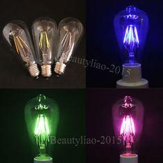 Colorful LED COB Filament Edison Glass Bulb 4W 85 265V E27 Light Decorative Lamp | eBay