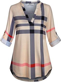 online shopping for SeSe Code Womens Roll Sleeve Shirt Notch Neck Loose Tops Plaid Tunic Blouse from top store. See new offer for SeSe Code Womens Roll Sleeve Shirt Notch Neck Loose Tops Plaid Tunic Blouse Plaid Tunic, Tunic Blouse, Tunic Tops, Burberry, Tunic Pattern, Casual Tops For Women, How To Roll Sleeves, Look Fashion, Fashion 2018