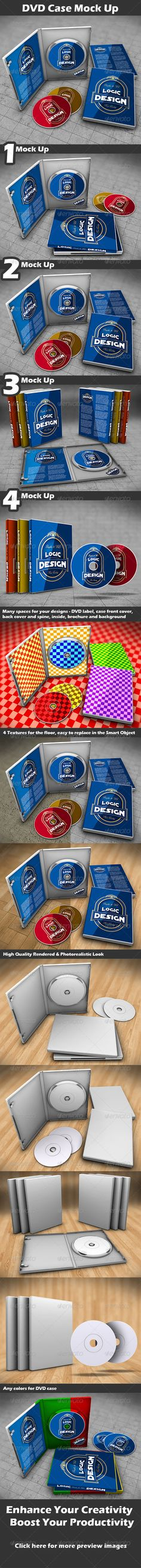 DVD Case Mock Up  #GraphicRiver        DVD Case Mock Up Description  A professional DVD Case Mock Up. You can easily change the SmartObject labels. Shadows and light reflections are done automatically. Less than a minute to create! Instructions included. Using the smart objects you can make your own design for any parts (DVD label, cases cover front, cover back and spine, inside cases, brochure and background).   4 different images  All objects are individualized, on separate layers  Images…